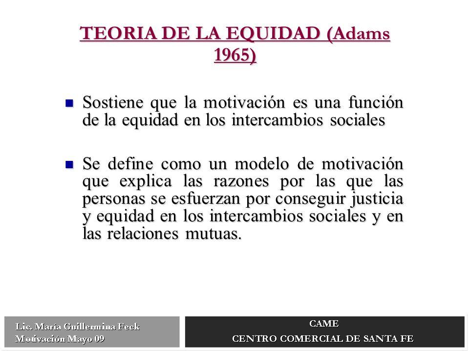 TEORIA DE LA EQUIDAD (Adams 1965) Sostiene que la motivación es una función de la equidad en los intercambios sociales Sostiene que la motivación es una función de la equidad en los intercambios sociales Se define como un modelo de motivación que explica las razones por las que las personas se esfuerzan por conseguir justicia y equidad en los intercambios sociales y en las relaciones mutuas.