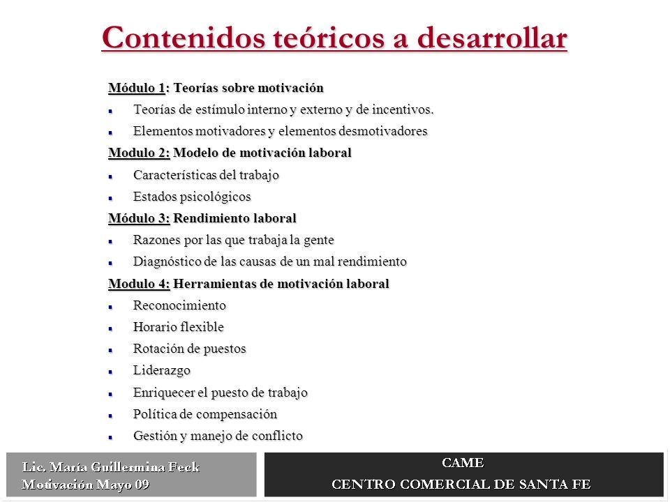 Contenidos teóricos a desarrollar Módulo 1: Teorías sobre motivación Teorías de estímulo interno y externo y de incentivos.