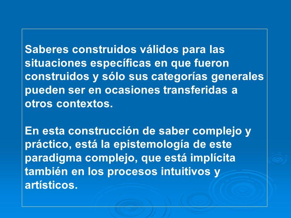 Saberes construidos válidos para las situaciones específicas en que fueron construidos y sólo sus categorías generales pueden ser en ocasiones transferidas a otros contextos.