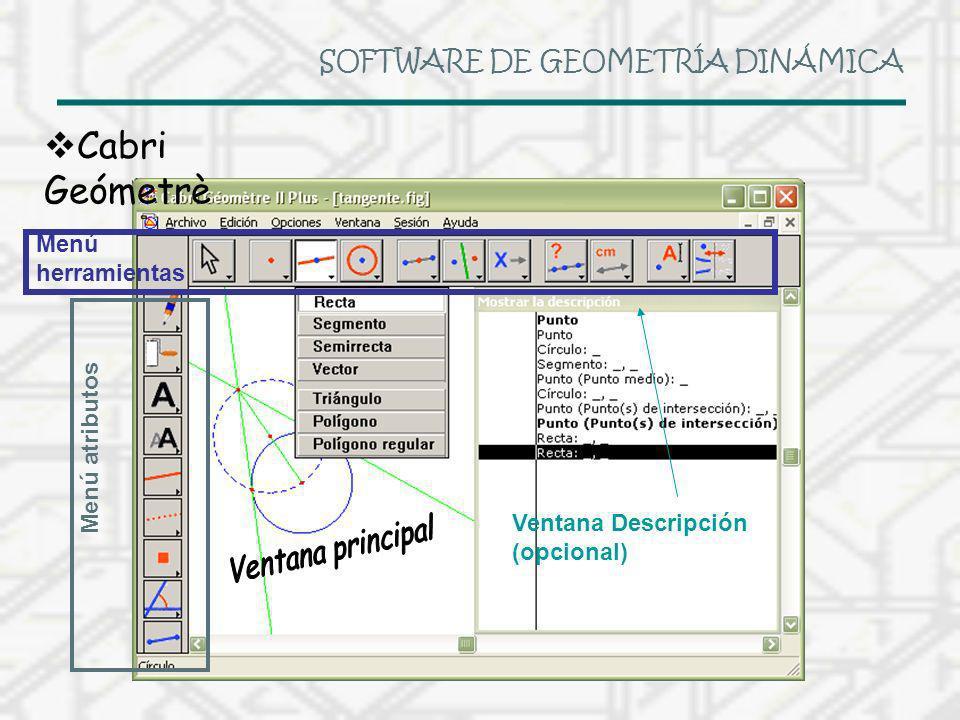 SOFTWARE DE GEOMETRÍA DINÁMICA Cabri Geómetrè Menú herramientas Menú atributos Ventana Descripción (opcional)
