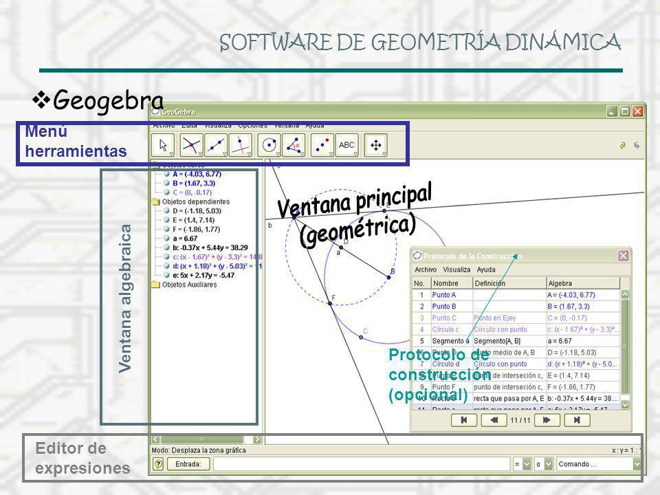 SOFTWARE DE GEOMETRÍA DINÁMICA Geogebra Menú herramientas Ventana algebraica Protocolo de construcción (opcional) Editor de expresiones