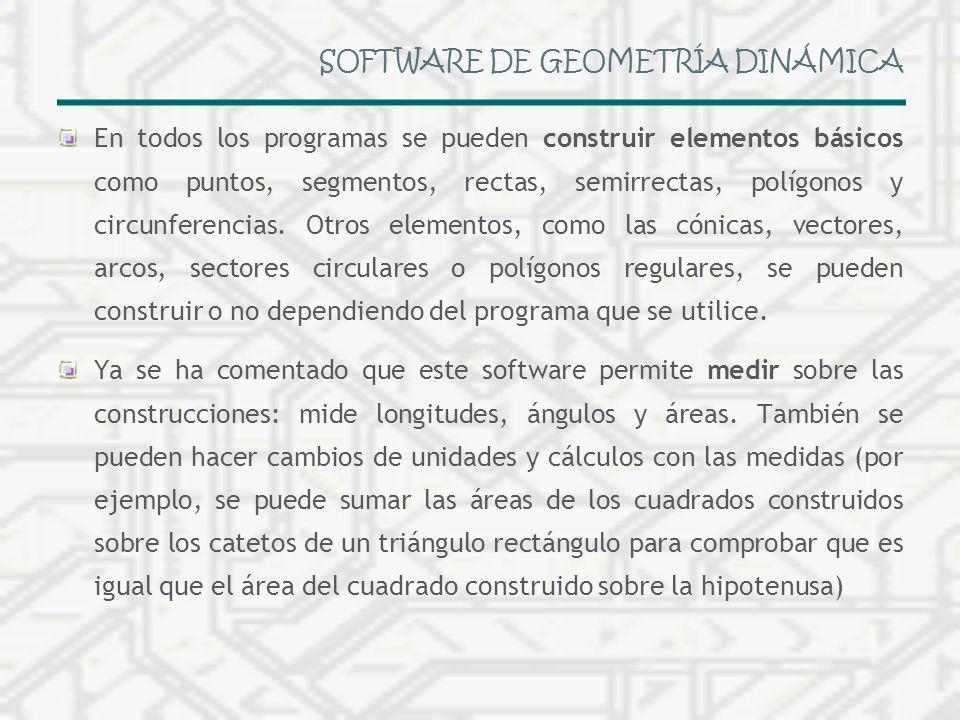 SOFTWARE DE GEOMETRÍA DINÁMICA En todos los programas se pueden construir elementos básicos como puntos, segmentos, rectas, semirrectas, polígonos y c
