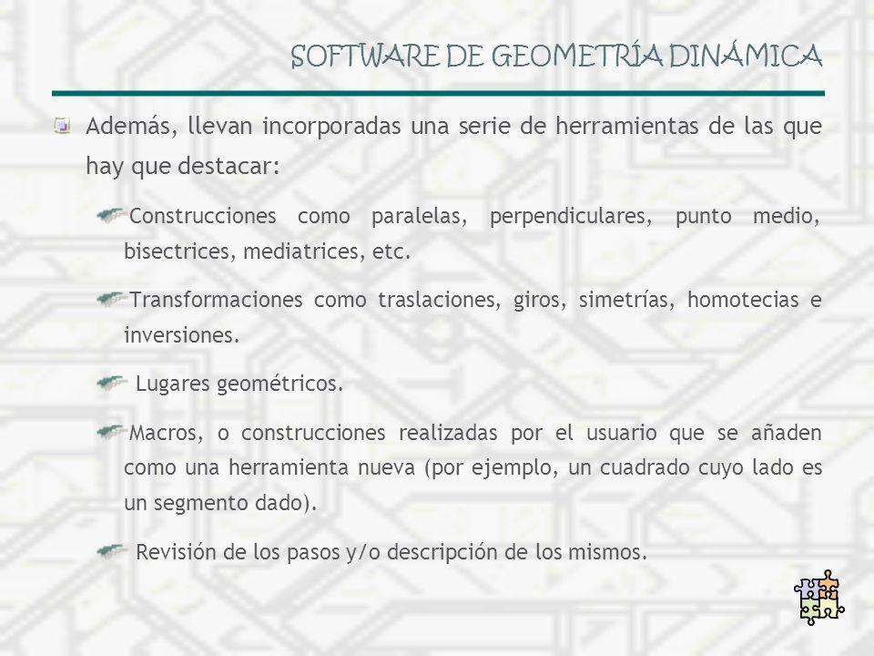 SOFTWARE DE GEOMETRÍA DINÁMICA Además, llevan incorporadas una serie de herramientas de las que hay que destacar: Construcciones como paralelas, perpe