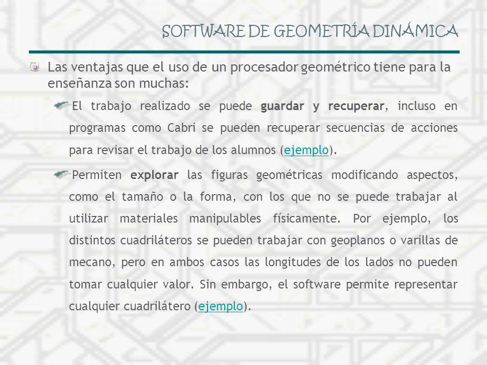 SOFTWARE DE GEOMETRÍA DINÁMICA Las ventajas que el uso de un procesador geométrico tiene para la enseñanza son muchas: El trabajo realizado se puede g
