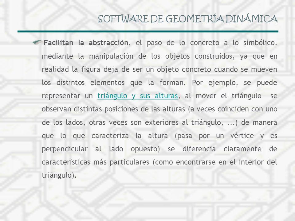SOFTWARE DE GEOMETRÍA DINÁMICA Facilitan la abstracción, el paso de lo concreto a lo simbólico, mediante la manipulación de los objetos construidos, y