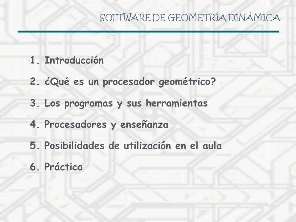 SOFTWARE DE GEOMETRÍA DINÁMICA 1.Introducción 2.¿Qué es un procesador geométrico? 3.Los programas y sus herramientas 4.Procesadores y enseñanza 5.Posi