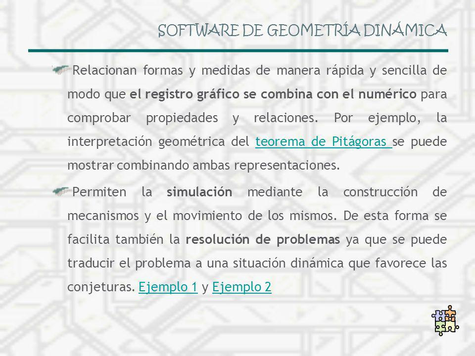 SOFTWARE DE GEOMETRÍA DINÁMICA Relacionan formas y medidas de manera rápida y sencilla de modo que el registro gráfico se combina con el numérico para