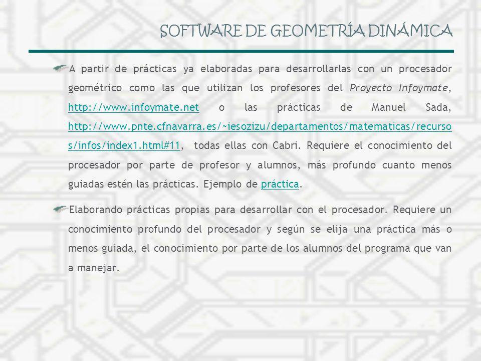 SOFTWARE DE GEOMETRÍA DINÁMICA A partir de prácticas ya elaboradas para desarrollarlas con un procesador geométrico como las que utilizan los profesor