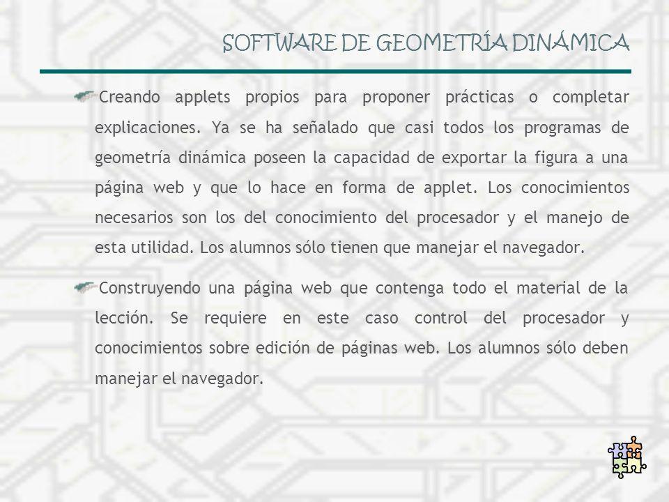 SOFTWARE DE GEOMETRÍA DINÁMICA Creando applets propios para proponer prácticas o completar explicaciones. Ya se ha señalado que casi todos los program