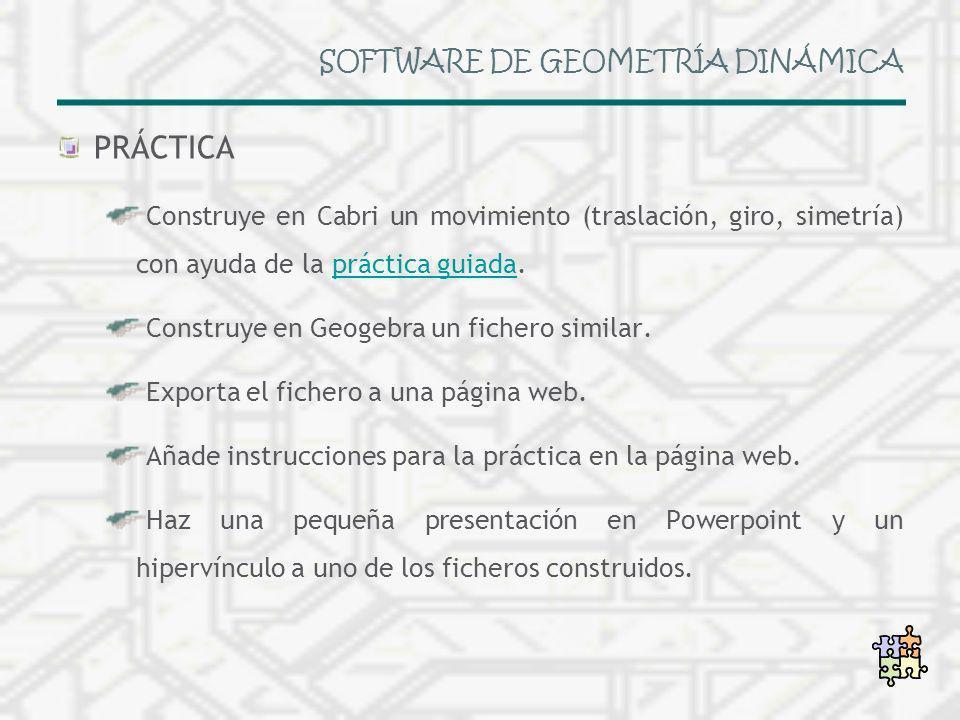 SOFTWARE DE GEOMETRÍA DINÁMICA PRÁCTICA Construye en Cabri un movimiento (traslación, giro, simetría) con ayuda de la práctica guiada.práctica guiada