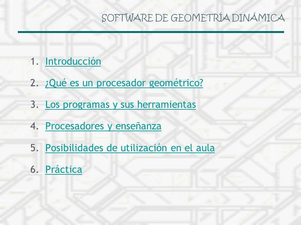 SOFTWARE DE GEOMETRÍA DINÁMICA 1.IntroducciónIntroducción 2.¿Qué es un procesador geométrico?¿Qué es un procesador geométrico? 3.Los programas y sus h