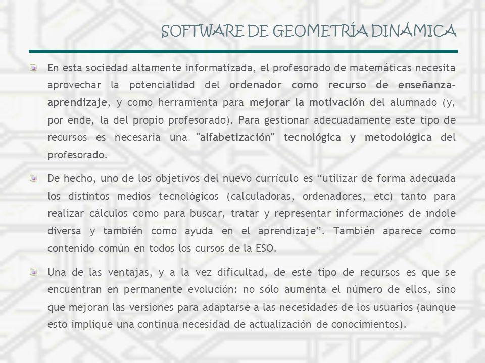 SOFTWARE DE GEOMETRÍA DINÁMICA En esta sociedad altamente informatizada, el profesorado de matemáticas necesita aprovechar la potencialidad del ordena
