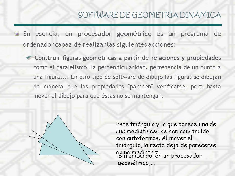 SOFTWARE DE GEOMETRÍA DINÁMICA En esencia, un procesador geométrico es un programa de ordenador capaz de realizar las siguientes acciones: Construir f