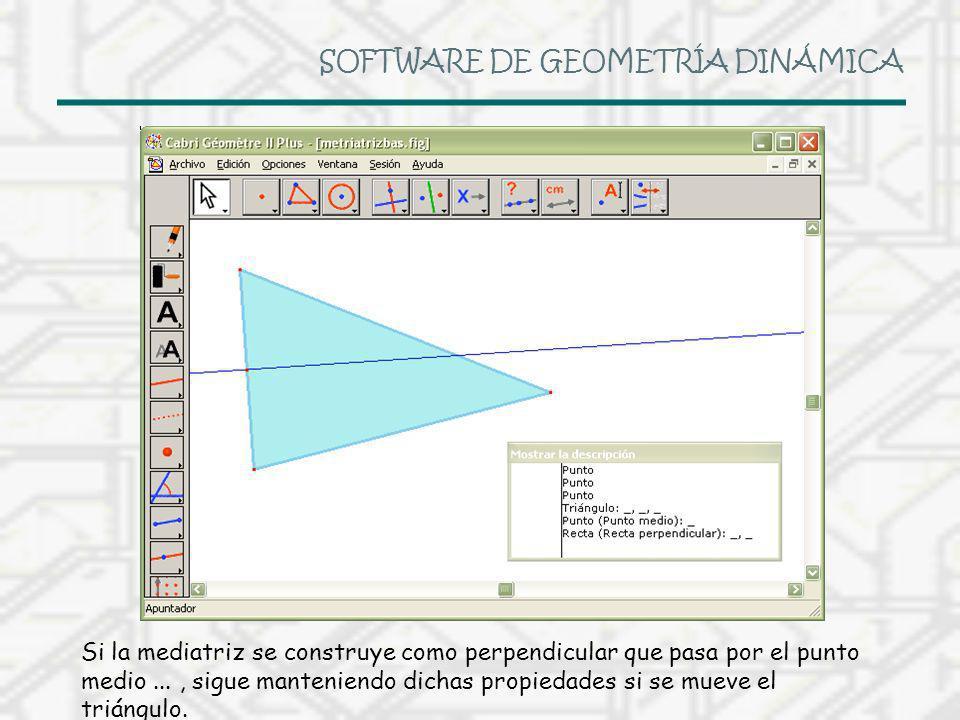 SOFTWARE DE GEOMETRÍA DINÁMICA Si la mediatriz se construye como perpendicular que pasa por el punto medio..., sigue manteniendo dichas propiedades si