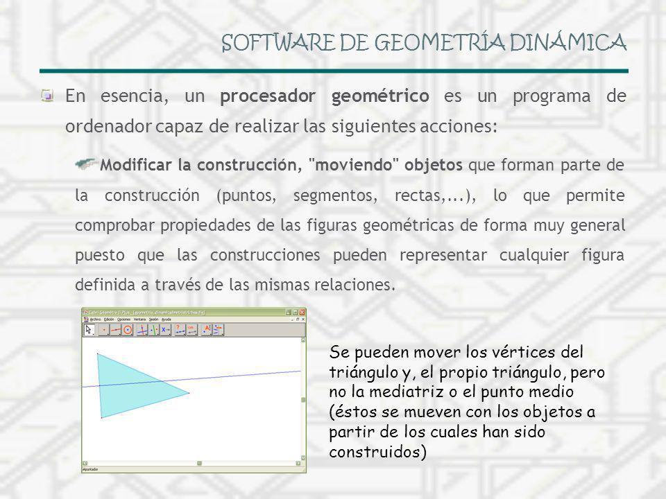 SOFTWARE DE GEOMETRÍA DINÁMICA En esencia, un procesador geométrico es un programa de ordenador capaz de realizar las siguientes acciones: Modificar l