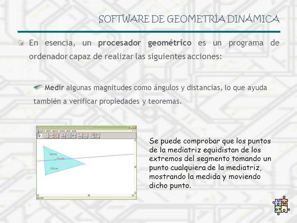 SOFTWARE DE GEOMETRÍA DINÁMICA En esencia, un procesador geométrico es un programa de ordenador capaz de realizar las siguientes acciones: Medir algun