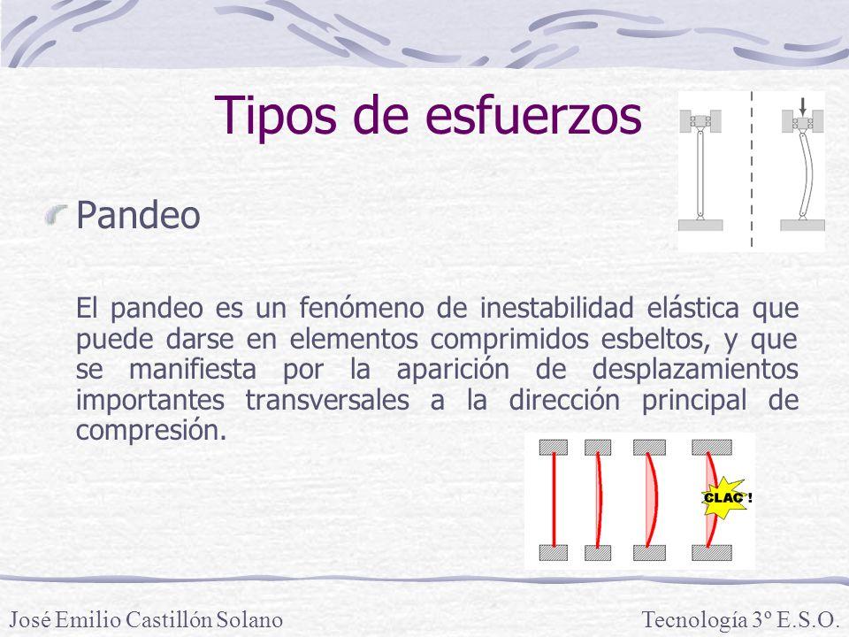 Tipos de esfuerzos Pandeo El pandeo es un fenómeno de inestabilidad elástica que puede darse en elementos comprimidos esbeltos, y que se manifiesta por la aparición de desplazamientos importantes transversales a la dirección principal de compresión.