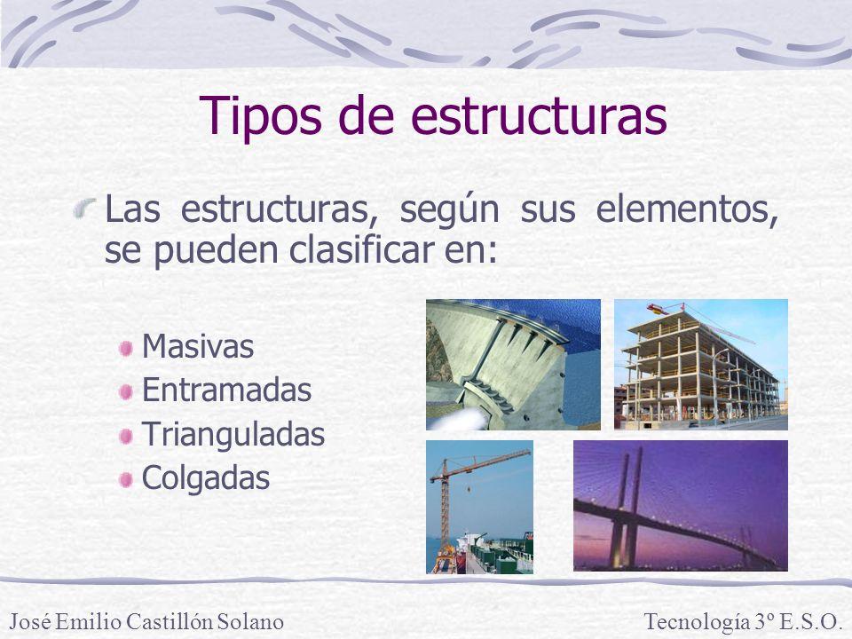 Tipos de estructuras Las estructuras, según sus elementos, se pueden clasificar en: Masivas Entramadas Trianguladas Colgadas José Emilio Castillón SolanoTecnología 3º E.S.O.