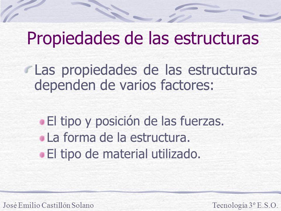 Propiedades de las estructuras Las propiedades de las estructuras dependen de varios factores: El tipo y posición de las fuerzas.