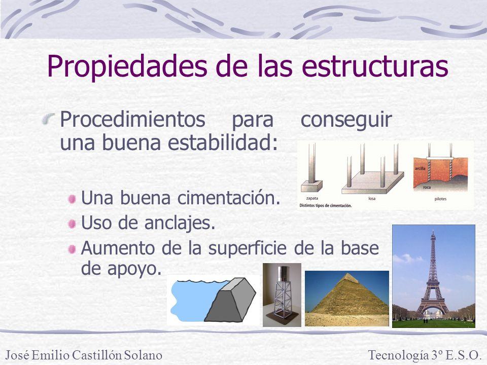 Propiedades de las estructuras Procedimientos para conseguir una buena estabilidad: Una buena cimentación.