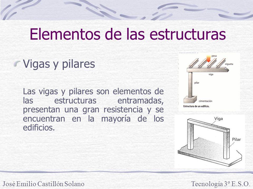 Elementos de las estructuras Vigas y pilares Las vigas y pilares son elementos de las estructuras entramadas, presentan una gran resistencia y se encuentran en la mayoría de los edificios.