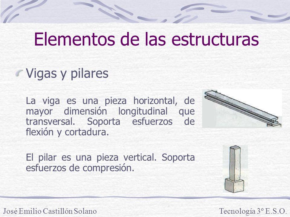 Elementos de las estructuras Vigas y pilares Los materiales utilizados en las estructuras entramadas son diversos: la madera (se usa para construcciones de pequeño tamaño), el acero (se usa para estructuras de grandes dimensiones) y el hormigón armado (se usa en la mayoría de construcciones).