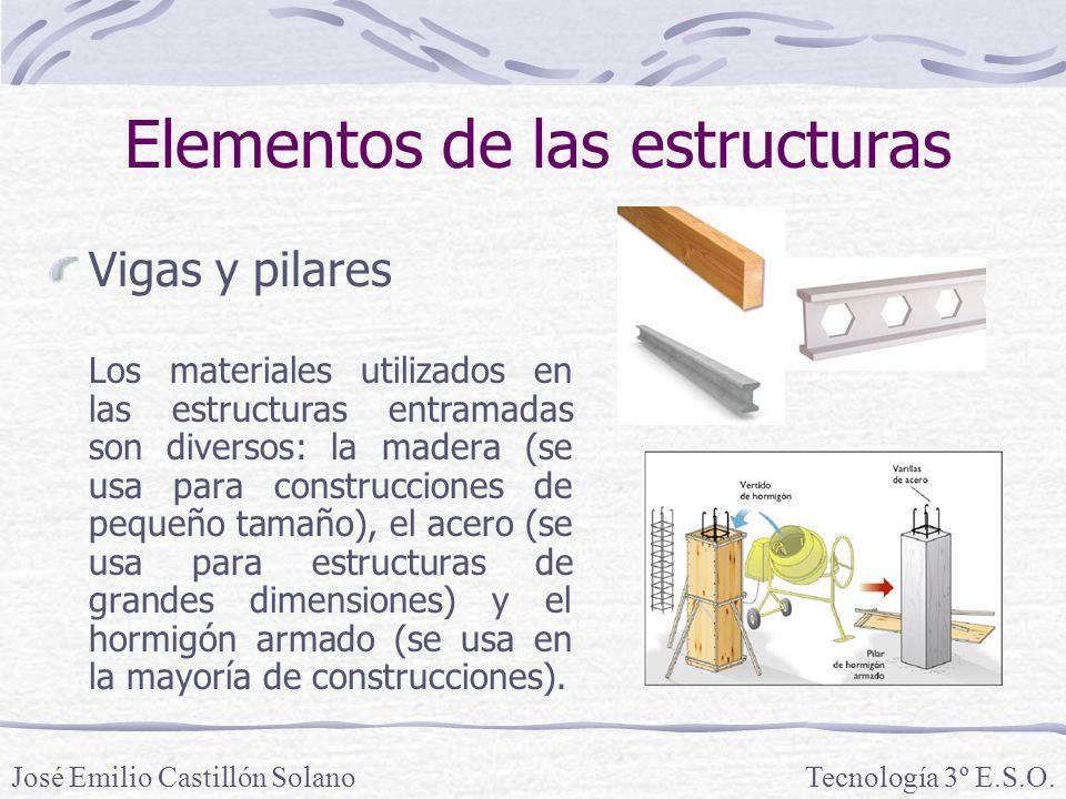 Elementos de las estructuras Vigas y pilares La resistencia y rigidez de las vigas y pilares depende de la cantidad y tipo de material y de la forma de la sección o perfil.