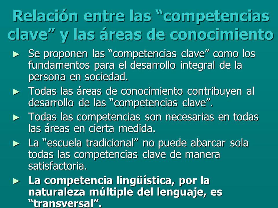 Relación entre las competencias clave y las áreas de conocimiento Se proponen las competencias clave como los fundamentos para el desarrollo integral de la persona en sociedad.