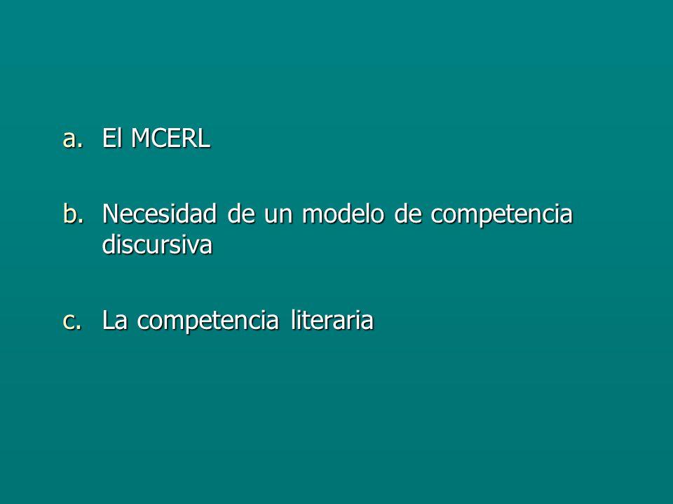 a.El MCERL b.Necesidad de un modelo de competencia discursiva c.La competencia literaria