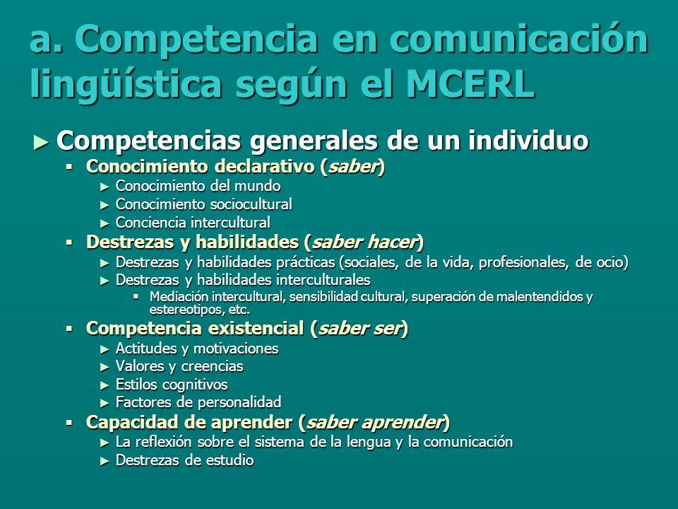 a. Competencia en comunicación lingüística según el MCERL Competencias generales de un individuo Competencias generales de un individuo Conocimiento d