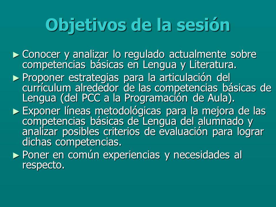 Objetivos de la sesión Conocer y analizar lo regulado actualmente sobre competencias básicas en Lengua y Literatura.