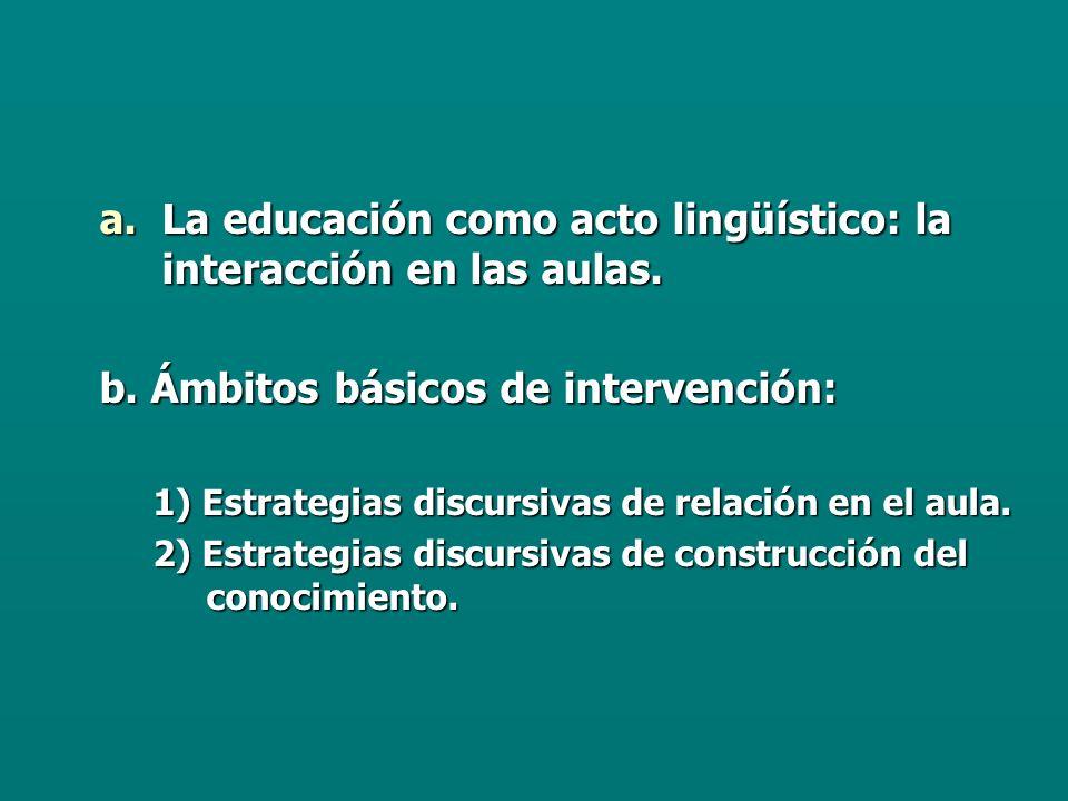 a.La educación como acto lingüístico: la interacción en las aulas.