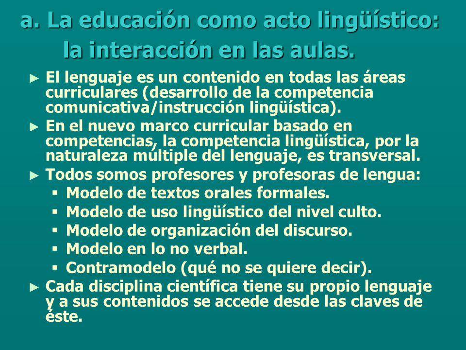 El lenguaje es un contenido en todas las áreas curriculares (desarrollo de la competencia comunicativa/instrucción lingüística).