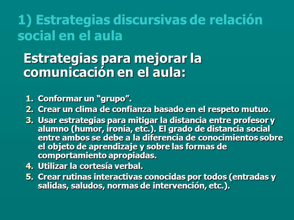 Estrategias para mejorar la comunicación en el aula: 1.Conformar un grupo.