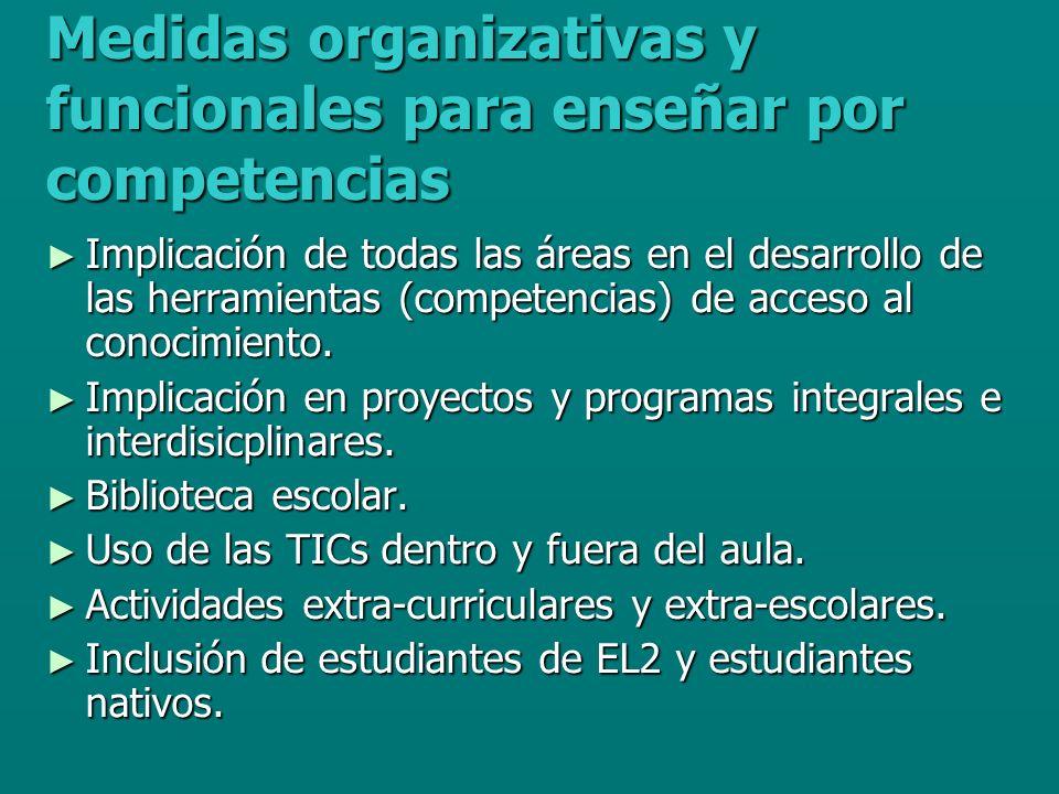 Medidas organizativas y funcionales para enseñar por competencias Implicación de todas las áreas en el desarrollo de las herramientas (competencias) de acceso al conocimiento.