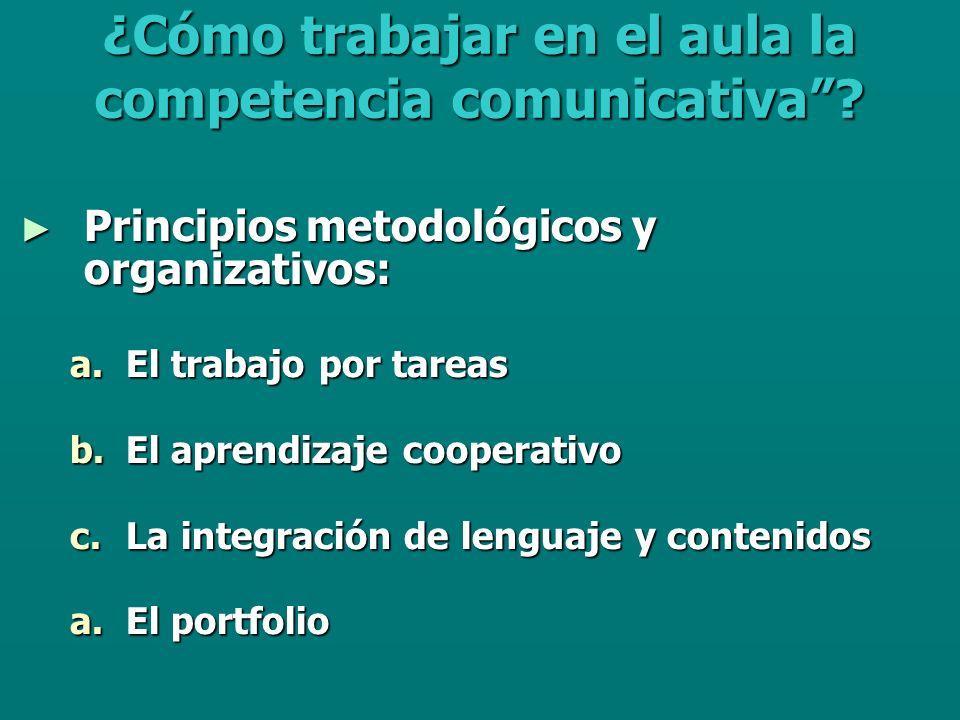 Principios metodológicos y organizativos: Principios metodológicos y organizativos: a.El trabajo por tareas b.El aprendizaje cooperativo c.La integración de lenguaje y contenidos a.El portfolio ¿Cómo trabajar en el aula la competencia comunicativa?