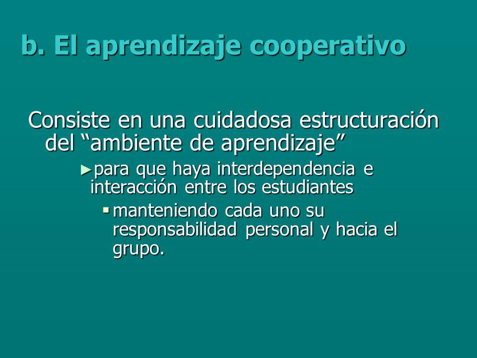 Consiste en una cuidadosa estructuración del ambiente de aprendizaje para que haya interdependencia e interacción entre los estudiantes para que haya interdependencia e interacción entre los estudiantes manteniendo cada uno su responsabilidad personal y hacia el grupo.