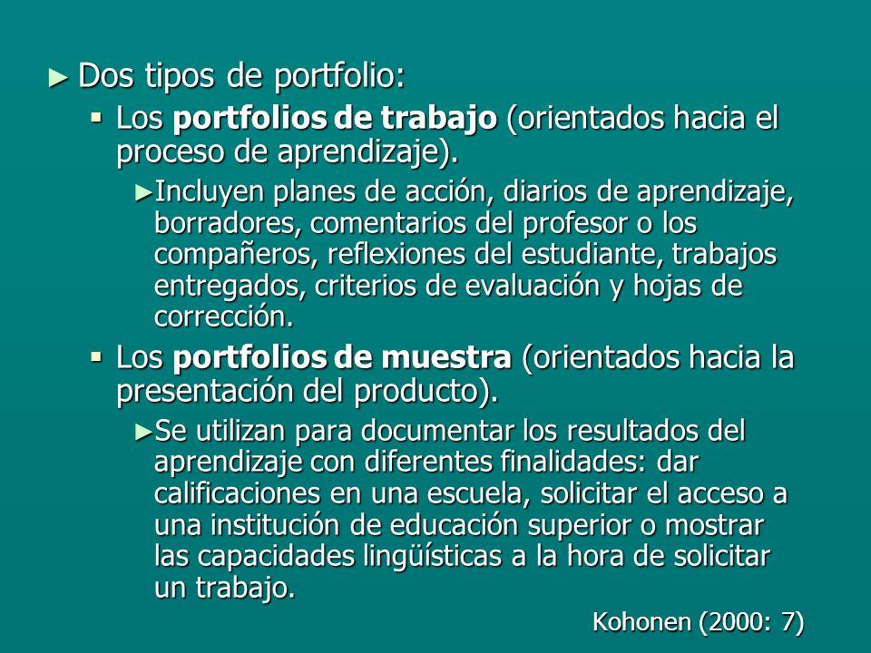 Dos tipos de portfolio: Dos tipos de portfolio: Los portfolios de trabajo (orientados hacia el proceso de aprendizaje).