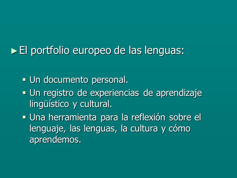El portfolio europeo de las lenguas: El portfolio europeo de las lenguas: Un documento personal.