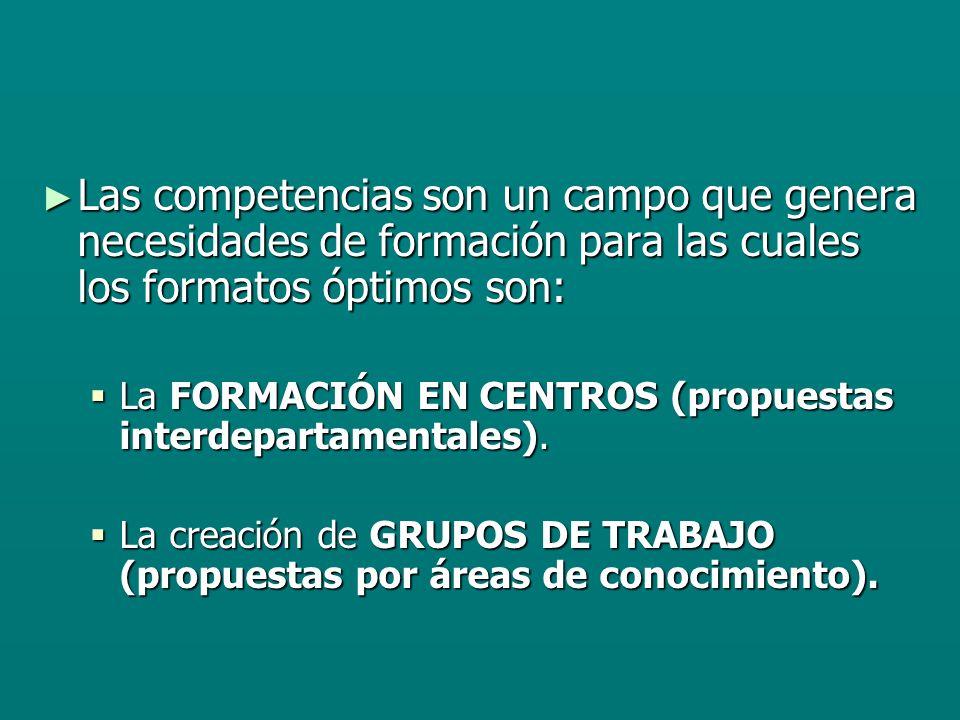 Las competencias son un campo que genera necesidades de formación para las cuales los formatos óptimos son: Las competencias son un campo que genera necesidades de formación para las cuales los formatos óptimos son: La FORMACIÓN EN CENTROS (propuestas interdepartamentales).