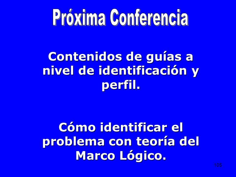 105 Contenidos de guías a nivel de identificación y perfil. Cómo identificar el problema con teoría del Marco Lógico.