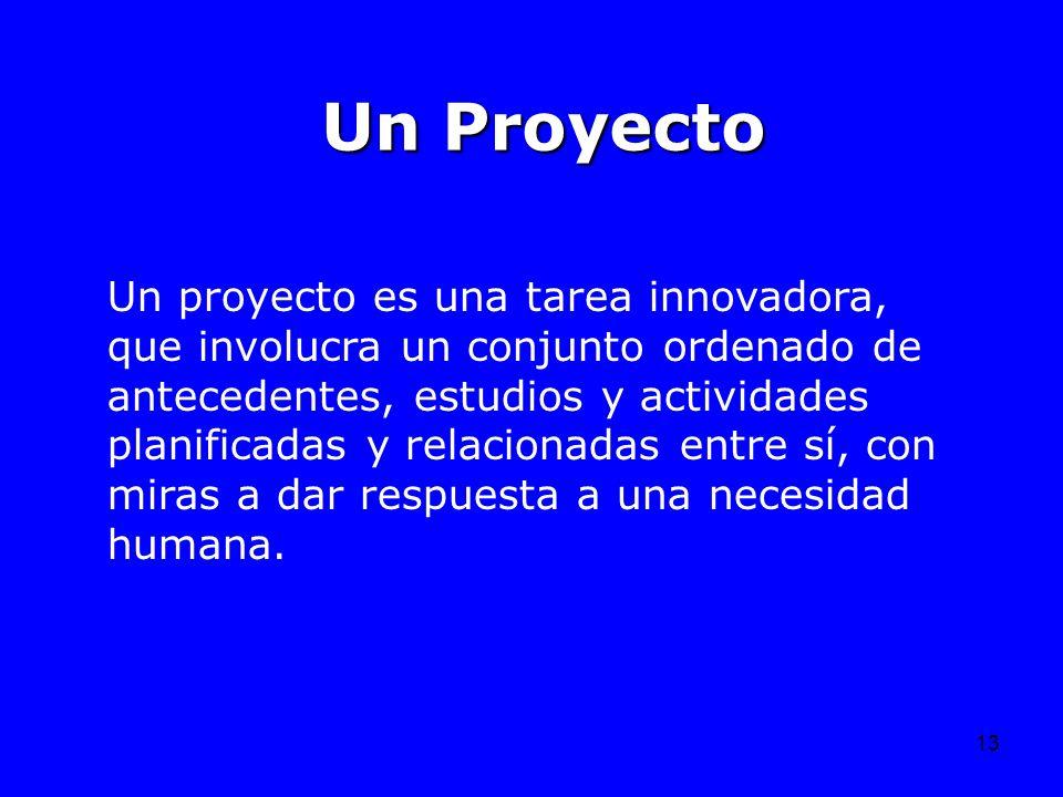 13 Un Proyecto Un proyecto es una tarea innovadora, que involucra un conjunto ordenado de antecedentes, estudios y actividades planificadas y relacion