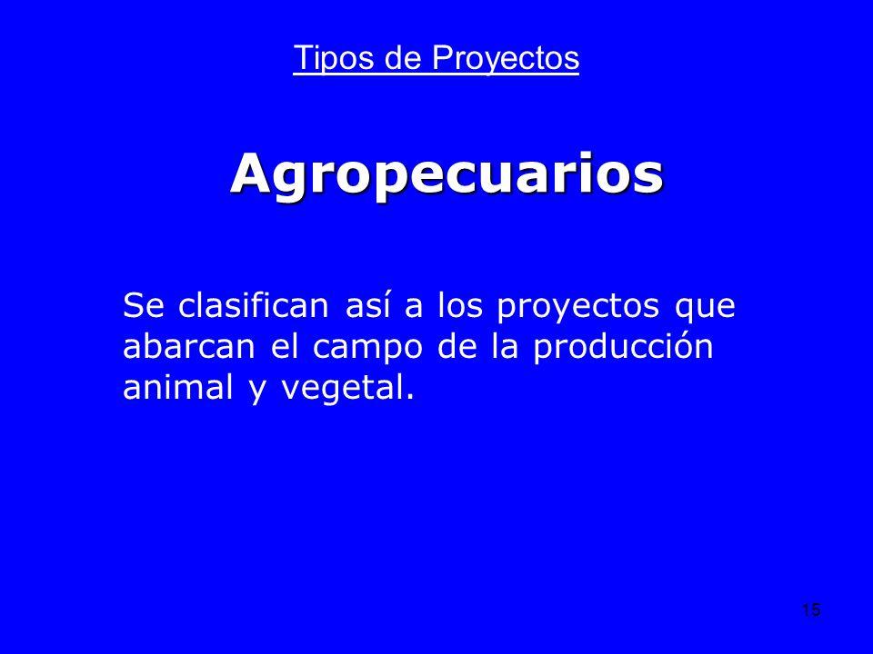 15 Agropecuarios Tipos de Proyectos Se clasifican así a los proyectos que abarcan el campo de la producción animal y vegetal.