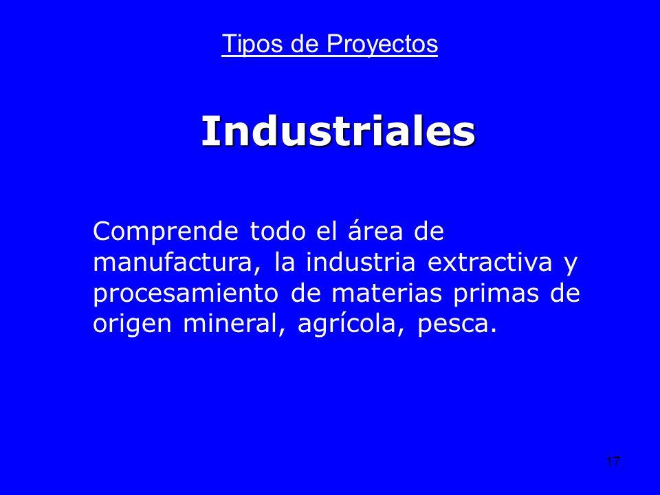 17 Industriales Tipos de Proyectos Comprende todo el área de manufactura, la industria extractiva y procesamiento de materias primas de origen mineral