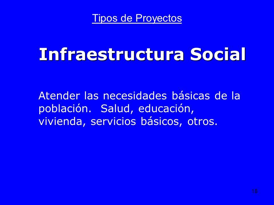 18 Infraestructura Social Tipos de Proyectos Atender las necesidades básicas de la población. Salud, educación, vivienda, servicios básicos, otros.