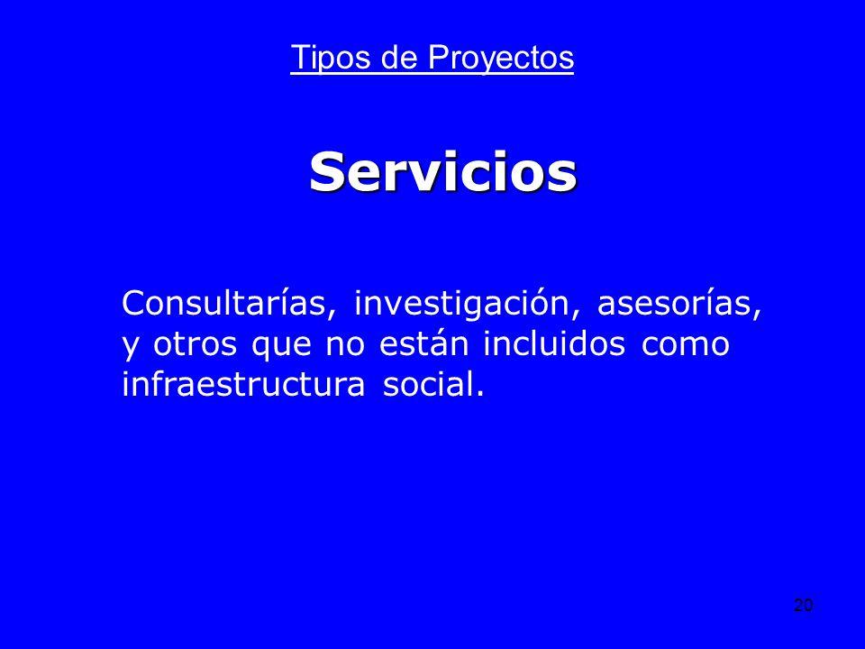 20 Servicios Tipos de Proyectos Consultarías, investigación, asesorías, y otros que no están incluidos como infraestructura social.