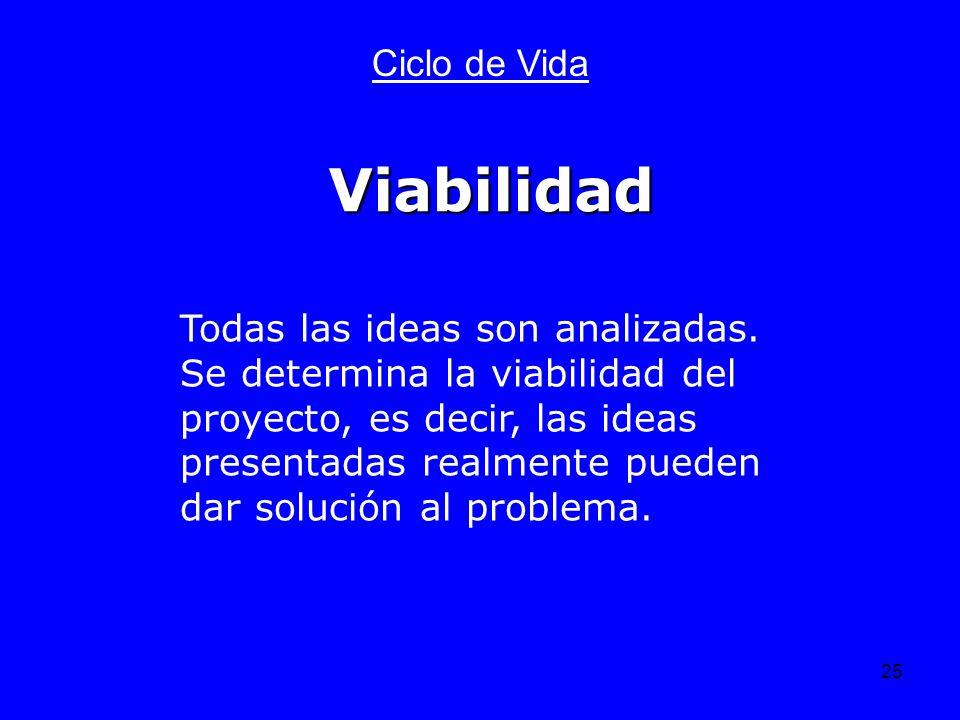 25 Ciclo de Vida Todas las ideas son analizadas. Se determina la viabilidad del proyecto, es decir, las ideas presentadas realmente pueden dar solució