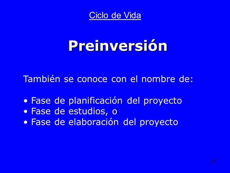 27 Ciclo de Vida También se conoce con el nombre de: Fase de planificación del proyecto Fase de estudios, o Fase de elaboración del proyecto Preinvers