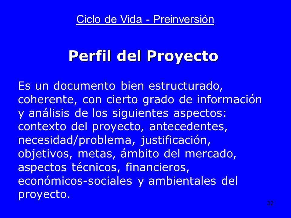 32 Ciclo de Vida - Preinversión Es un documento bien estructurado, coherente, con cierto grado de información y análisis de los siguientes aspectos: c