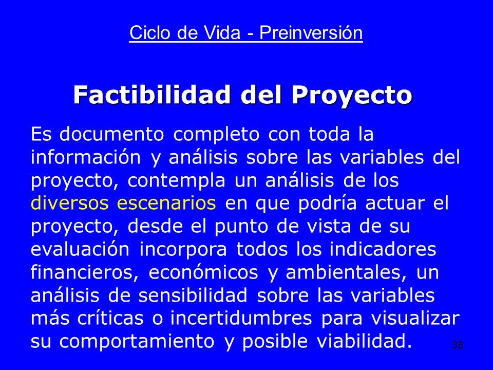 36 Ciclo de Vida - Preinversión Es documento completo con toda la información y análisis sobre las variables del proyecto, contempla un análisis de lo